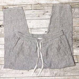 Caslon linen striped draw string pants